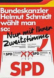 Anonym - Bundeskanzler Schmidt wählt man so: - SPD
